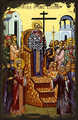 The Elevation of the Precious Cross - Aged Byzantine Icon