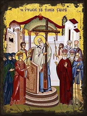 Exaltation of the Holy Cross - Aged Byzantine Icon