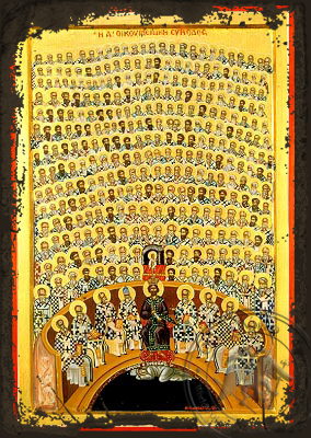 First Holy Ecumenical Council, at Nice of Bithynia - Aged Byzantine Icon