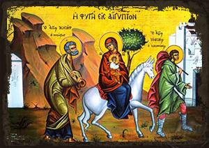 Flee to Egypt - Aged Byzantine Icon