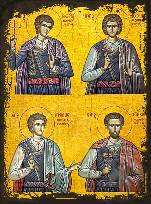 Four Holy Neomartyrs of Rethymne - Aged Byzantine Icon