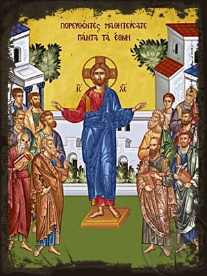Go into all the World and Preach the Gospel to all Creation - Aged Byzantine Icon