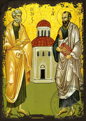 Holy Apostles Peter and Paul, Full Body - Aged Byzantine Icon