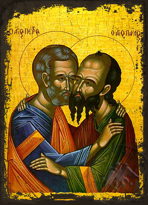 Holy Apostles Peter and Paul, the Embracement - Aged Byzantine Icon