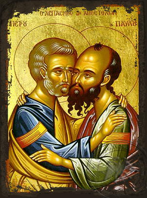 Peter and Paul the Apostles - Aged Byzantine Icon
