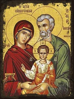 Holy Family - Aged Byzantine Icon