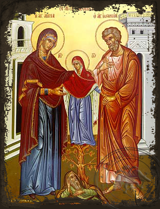 Saint Joachim and Anne with the Virgin - Aged Byzantine Icon