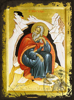 Holy Prophet Elias in Cave, Full Body - Aged Byzantine Icon