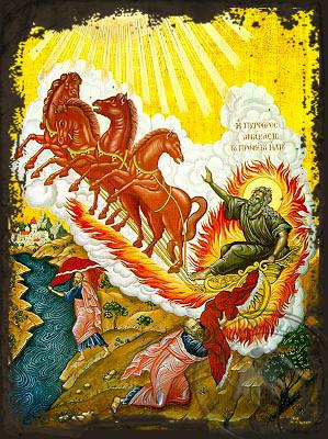 Holy Prophet Elias on Chariot and Prophet Elisha - Aged Byzantine Icon