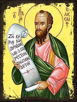 Holy Prophet Elisha - Aged Byzantine Icon