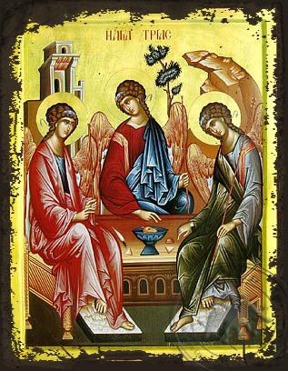 Holy Trinity (Three Angels, from the Hospitality of Abraham) - Aged Byzantine Icon