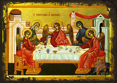 The Hospitality of Abraham - Aged Byzantine Icon