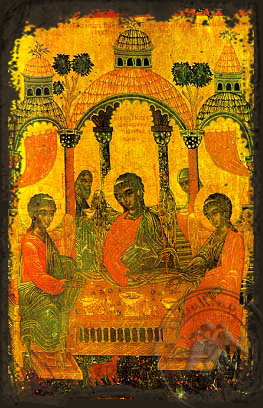 Hospitality of Abraham - Aged Byzantine Icon