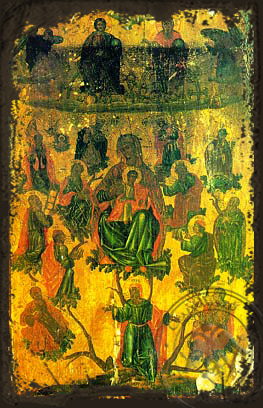 Jesse Tree - Aged Byzantine Icon