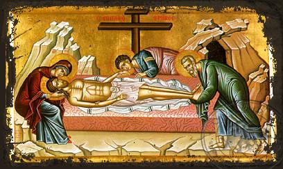 The Lamentation - Aged Byzantine Icon