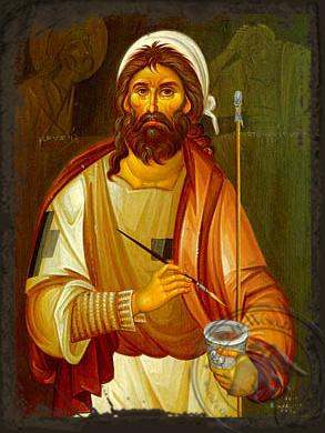 Emmanuel Panselenos, the Hagiographer - Aged Byzantine Icon