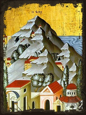 Mount Athos Detail - Aged Byzantine Icon
