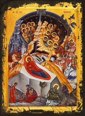 Nativity of Christ - Aged Byzantine Icon