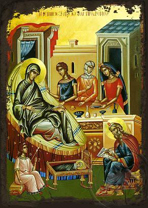 The birth of St.John the Baptist - Aged Byzantine Icon