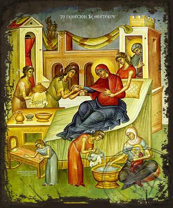Nativity of Theotokos - Aged Byzantine Icon