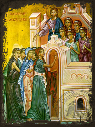 Parable of the Ten Virgins - Aged Byzantine Icon