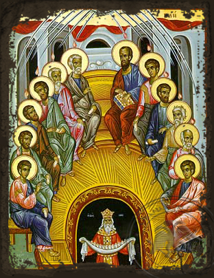 The Pentecost - Aged Byzantine Icon