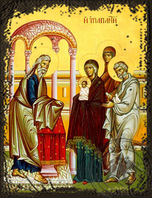 Presentation of Christ in the Temple - Aged Byzantine Icon