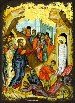 Saint Lazarus Raising - Aged Byzantine Icon