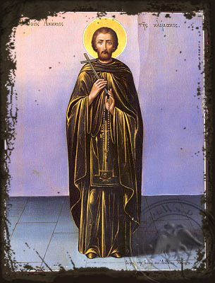 Saint Acacios - Aged Byzantine Icon