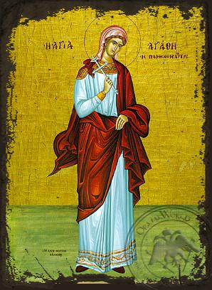 Saint Agathe - Aged Byzantine Icon