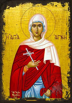 Saint Agni - Aged Byzantine Icon