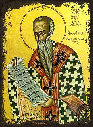 Saint Alexander of Constantinople - Aged Byzantine Icon