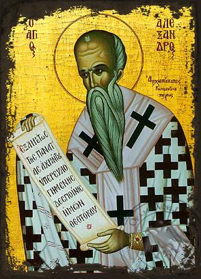 Saint Alexander, Patriarch of Constantinople - Aged Byzantine Icon