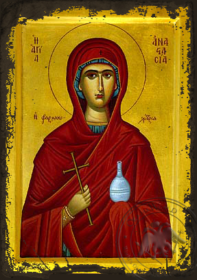 Saint Anastasia the Great Martyr, Deliverer from Bonds - Aged Byzantine Icon