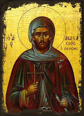 Saint Anastasius Monk-Martyr, the Persian - Aged Byzantine Icon