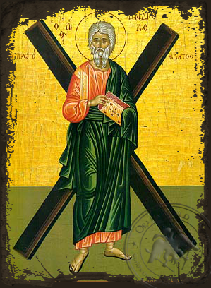 Andrew the Apostle - Aged Byzantine Icon