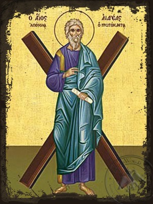 Saint Andrew the Apostle the First-Called with Cross Full Body - Aged Byzantine Icon