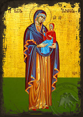 Saint Anne with Virgin, Full Body - Aged Byzantine Icon