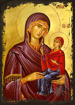 Saint Anne the Mother of Theotokou - Aged Byzantine Icon
