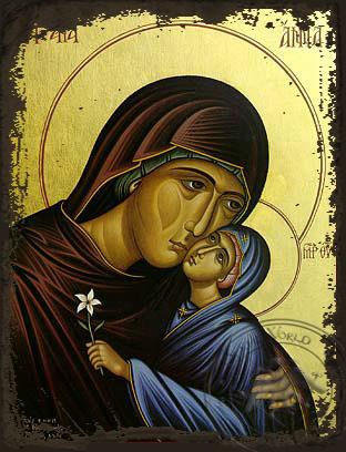 Saint Anne with Virgin, Bust - Aged Byzantine Icon