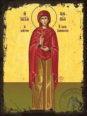 Saint Anthia Martyr Mother of Saint Eleutherius Full Body - Aged Byzantine Icon