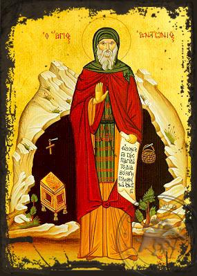 Saint Anthony the Great, Full Body - Aged Byzantine Icon