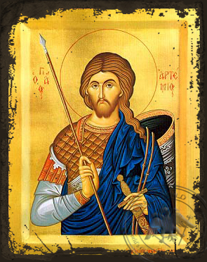 Saint Artemius, the Great Martyr, at Antioch - Aged Byzantine Icon