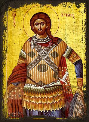 Saint Artemios - Aged Byzantine Icon