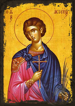 Saint Asterius, Martyr, at Aegae in Cilicia - Aged Byzantine Icon