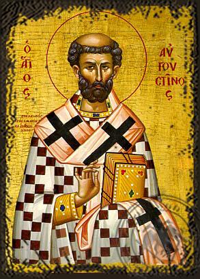 Saint Augustine - Aged Byzantine Icon