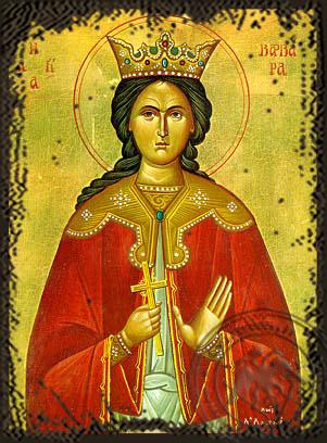 Saint Barbara - Aged Byzantine Icon