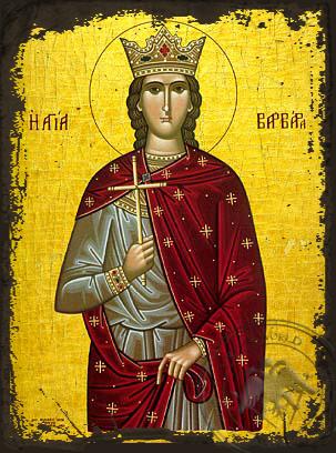 Saint Barbara, the Great Martyr - Aged Byzantine Icon
