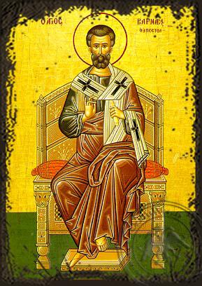 Saint Barnabas the Apostle, Enthroned - Aged Byzantine Icon