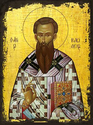 Saint Basil the Great, Archbishop of Caesarea, Cappadocea - Aged Byzantine Icon